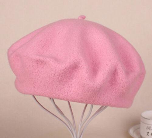 Sweet Women's Solid Wool Beret French Artist Warm Beanie Hat Winter Ski Cap New