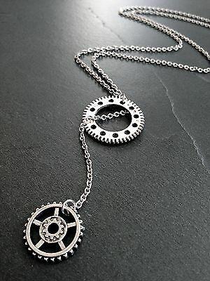 Steampunk Lariat Style Gear Charms Necklace on Stainless Steel Chain
