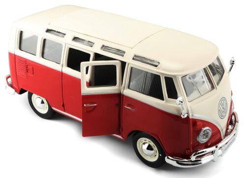 "Maisto Volkswagen VW 1960s Van Samba bus 1:25 scale 7/"" RED diecast CAR model"