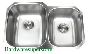 Details About 32 18 Gauge Undermount Double Bowl 6040 Stainless Steel Kitchen Sink