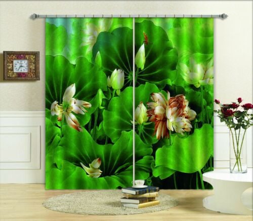 3D Lotu Paint Blockout Photo Curtain Printing Curtains Drapes Fabric Window AU