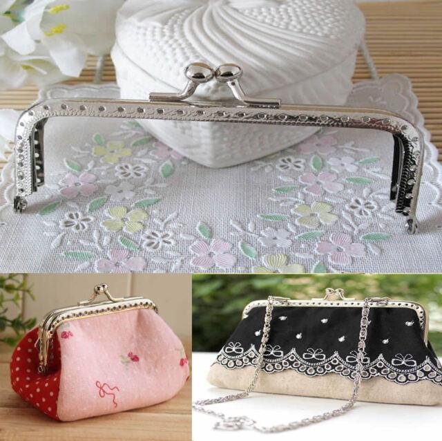Lot Sewing Purse Handbag Handle Silver Coins Bags Metal Kiss Clasp Frame 15cm