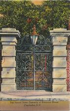 Postcard Charleston South Carolina Sword Gates Gateway Simonton House 1940s