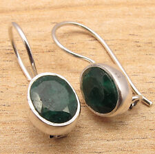 925 Silver Plated CHEAPEST SHIPPING Earrings ! CUT EMERALD Gemstone ONLINE BUY