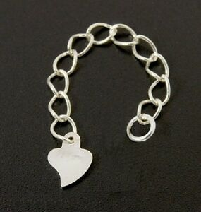 HEART-DROP-Solid-925-sterling-silver-bracelet-necklace-extender-extension-chain