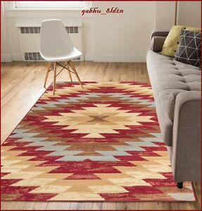 8 X 10 Western Decor Rugs Southwest Style Living Room Area Rug Native Red Beige Ebay