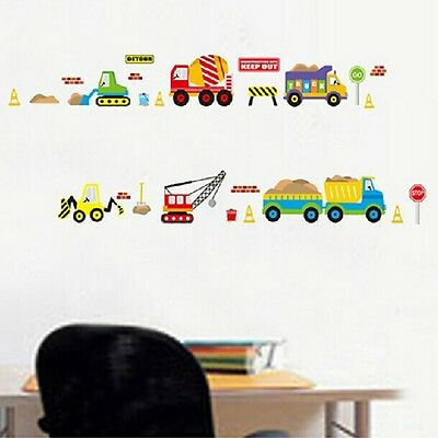 Cartoon Trucks Road Signs Removable Nursery Home Art Wall Sticker Decor Decal