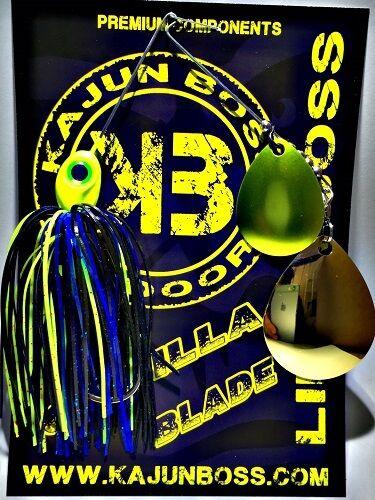 Kajun Boss 3//8 oz Noir//Bleu//Chartreuse Spinner Bait-Colorado//Colorado