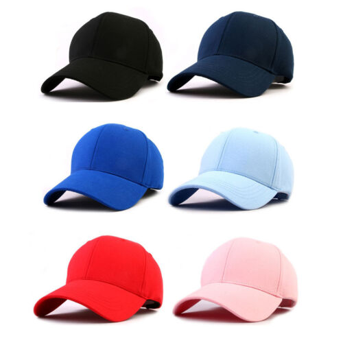 Unisex Mens Womens One Color Plain Blank Baseball Cap Adjustable Trucker Hats