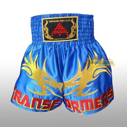 Muay Thai Fight Shorts MMA Grappling Kick Boxing Trunks Martial Arts Blue XXL