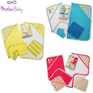 Baby-Hooded-Towel-Wash-Cloth-Set-100-Cotton-Blue-Red-Yellow-Gift-Shower-Soft