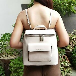 Charles-amp-Keith-Leather-Top-Zip-Textured-Backpack-Beige