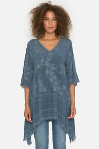 Johnny-Was-BLUE-Tunic-Top-M-Embroidered-Blouse-Leaf-Garden-WT-C20917