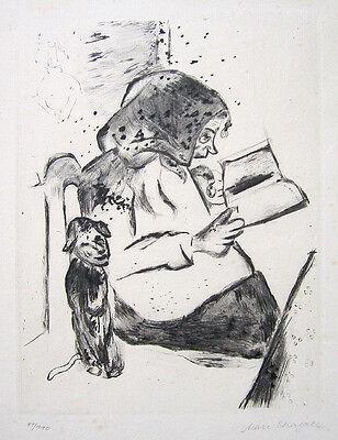 "MARC CHAGALL Hand Signed 1922 Original Etching/Drypoint - ""Die Grossmutter"""