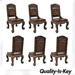 Details About 6 Hand Carved Thai Oriental Teak Wood Dining Chairs With Dancing Female Figure