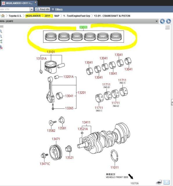 engine piston ring set for 2011 highlander ltd oem toyota 13011-0p040