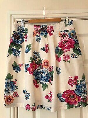 Gonna Estiva Donna Joules Uk Taglia 10 Misto Cotone/lino Bianco Floreale Vintage-mostra Il Titolo Originale