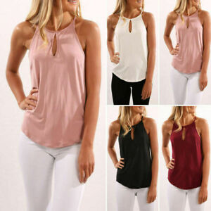 Women-Sleeveless-Summer-Vest-Top-T-Shirt-Blouse-Pure-Color-Casual-Tank