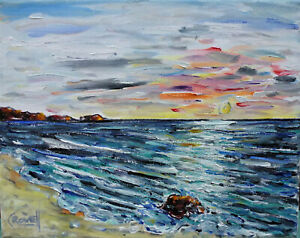 ZUMA-SKY-SUNSET-beach-sea-shore-New-8x10-oil-painting-canvas-signed-by-CROWELL
