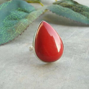 Red Coral Ring 925 Sterling Silver Ring Handmade Ring Boho Ring All Size KA-22