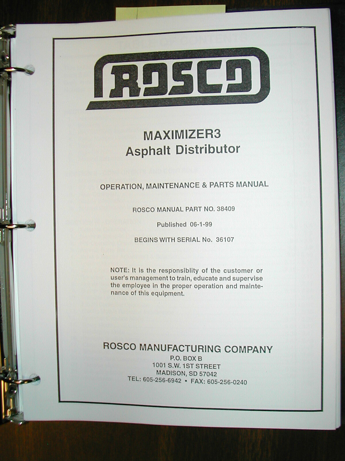 Rosco Maximizer Iii Distributor Operation Maintenance Parts Manual Ford 9n Diagram Norton Secured Powered By Verisign