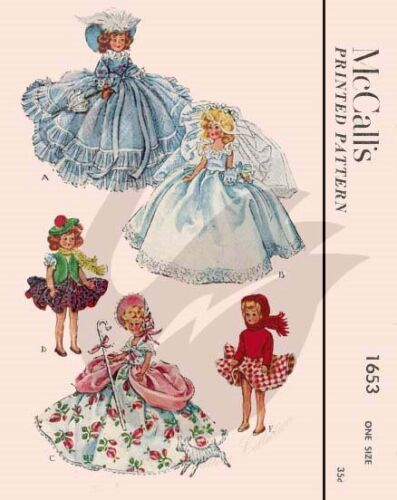 "Riproduzione vintage 7.5/"" /""Tall DOLLS CLOTHES Sewing Pattern M1653"