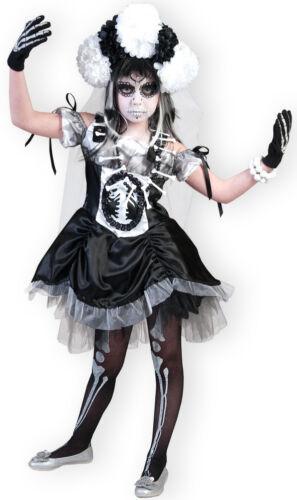 Zombie Mariée Costume pour enfants Sorcière Squelette fille mardi gras Taille 116 128/% Sale/%