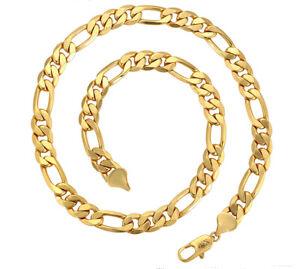 Herren-Damen-Gelbgold-Kette-10mm-Halskette-999er-Gold-24-Karat-vergoldet-60-cm