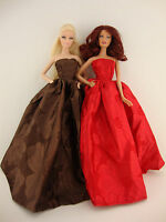 A Set Of 2 Marvelous Strapless Ball Gowns In Red And Brown Made To Fit The Barbi