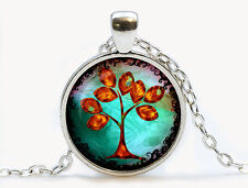 Vintage Style Glass Pendant Turquoise Blue Autumn Tree of Life Necklace N448