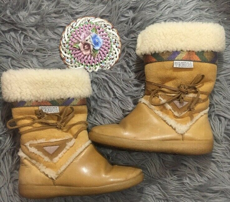 VTG TECNICA Women's Après-Ski Fur Boots Made in Italy Size 6 ? Shearling Suede