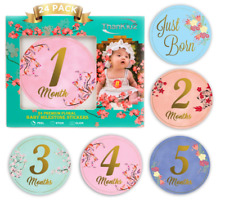 Baby Monthly Stickers - 24 Floral Milestone Stickers
