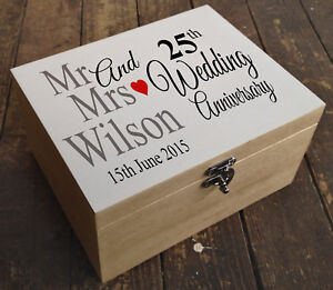 Details About Personalised Luxury Pine Wooden Memory Keepsake Box Wedding Anniversary Present