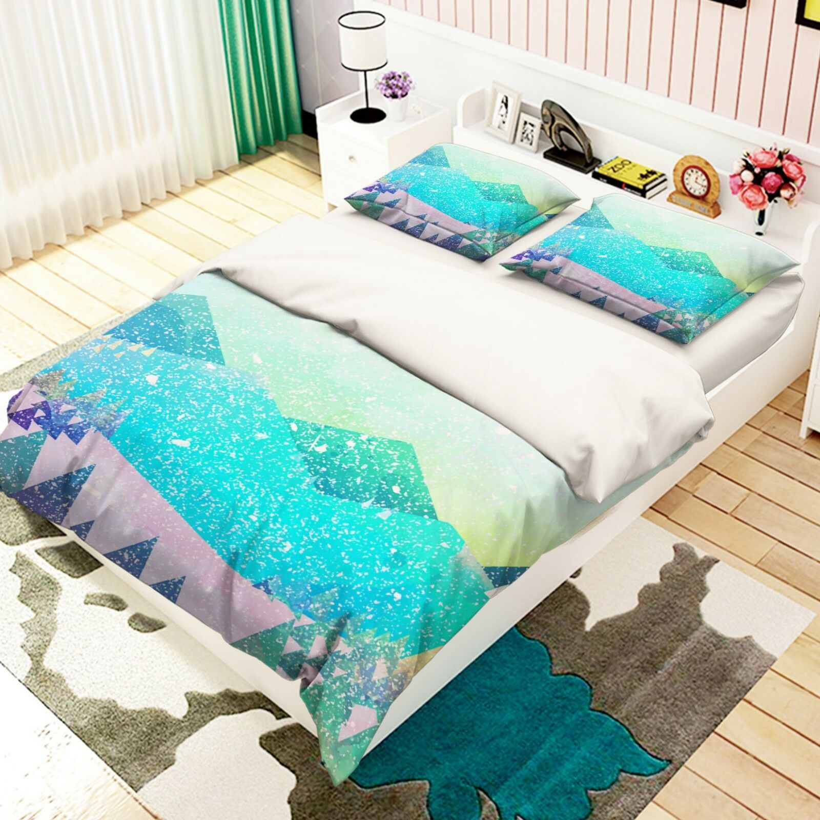 3D Snow Mountain 676 Bed PilFaiblecases Quilt Duvet Cover Set Single Queen AU voiturely