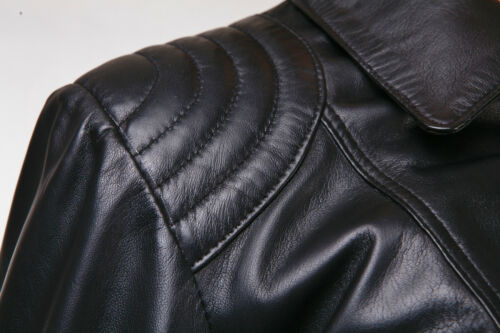 Black New Ladies Womens Retro Casual Designer Real Lambskin Biker Leather Jacket