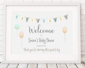 Personalised Baby Shower Welcome Sign Poster Print A4 PR85