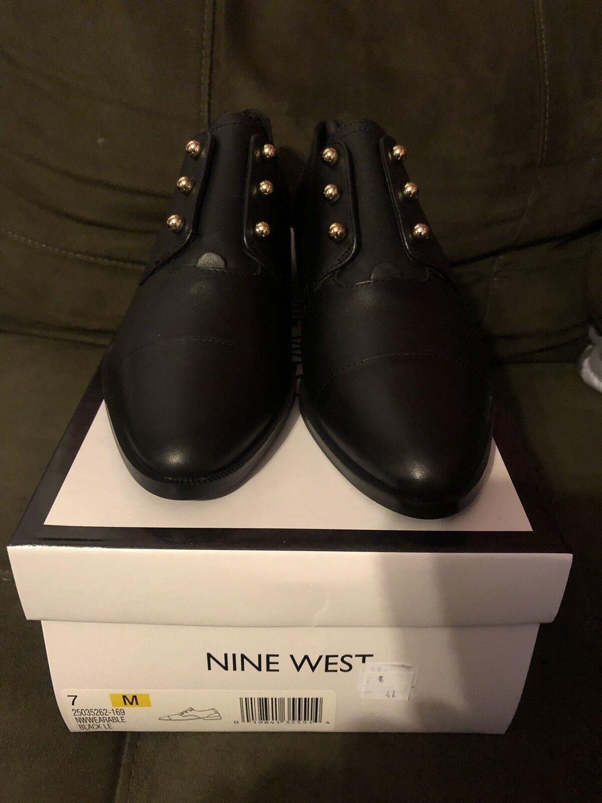 Nine West Women's Wearable Wearable Wearable Leather Oxford Flat - Size 7M- Black 75b207
