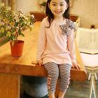 2PCS Kids Baby Girls Tracksuit Long Sleeve Tops T-shirts +Pants Outfits Set