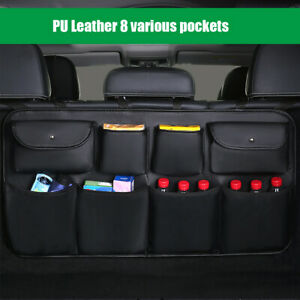 Car Trunk Interior Accessories PU leather Seat Back Organizer 8 Various Pockets