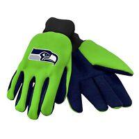 Seattle Seahawks Gloves Sports Logo Utility Work Garden Colored Palm