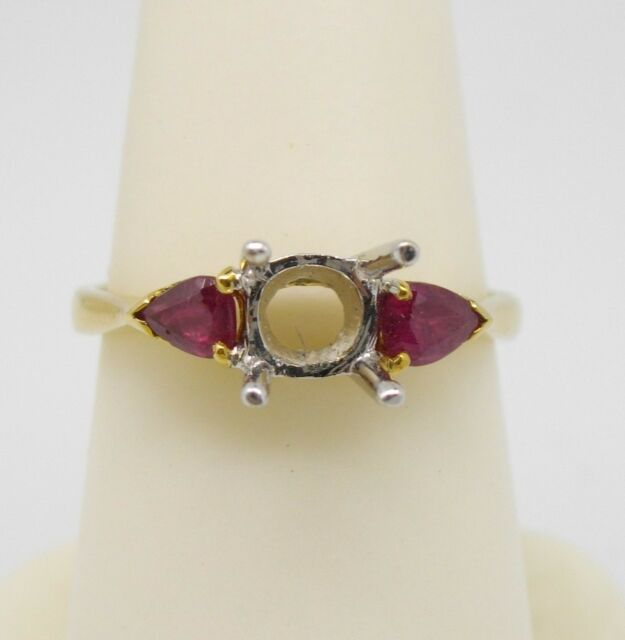 Ring 14k yel gold semi-mounting for 6 mm 3/4 ct stone 2 pear shape rubies size 7