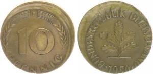 Frg 10 Pfennig 1950 F Lack Coinage: 10% Dezentriert XF, Druckstelle