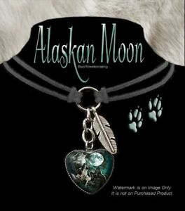 WOLVES-HOWL-ALASKAN-MOON-WOLF-CHOKER-NECKLACE-WILD-DOG-JEWELRY-FREE-SHIP-LC-K-039