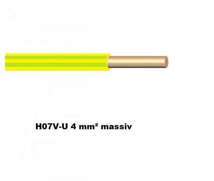 H07V-U 4 mm²  Erdungsleitung massiv (   lfdm) grün gelb VDE   Überlegen