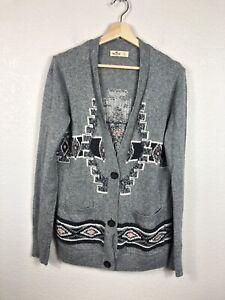 Hollister-Women-Sweater-Cardigan-size-Large-Gray-Grandma-Sweater-EUC