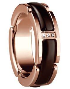 Bering-Time-Gioiello-Anello-Acciaio-Inox-Ceramica-Braun-Placcato-IN-Oro-Rosa