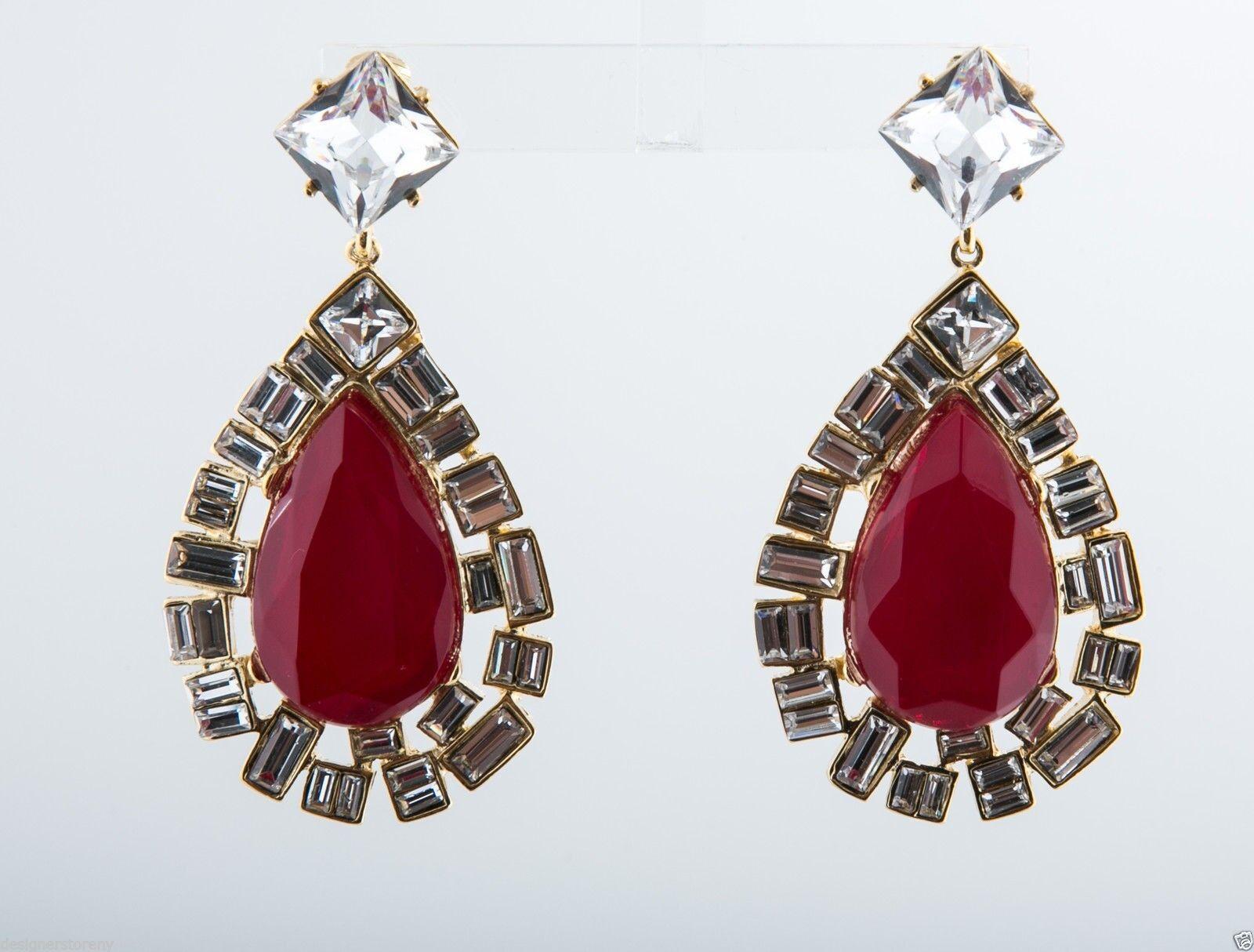 Kenneth Jay Lane Red Opal & Crystal Clip Earrings