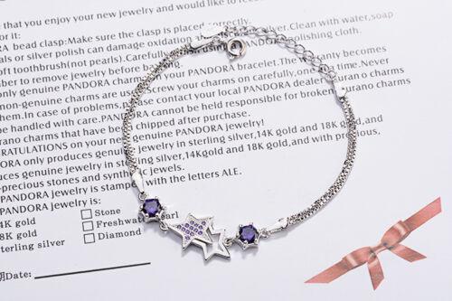 Argent Sterling 925 Coussin Zircon breloque étoile Bracelet Femme Bijoux Cadeau