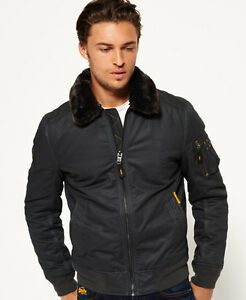 New Mens Superdry Winter Flite Jacket Dark Charcoal