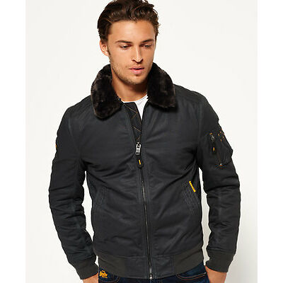 New Mens Superdry Winter Flite Jacket Dark Charcoal